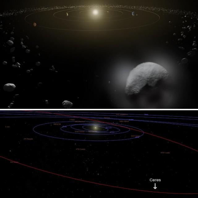 Arriba, recreación artística de Ceres orbitando el sol en pleno cinturón de asteroides (fuente: ESA/ATG Medialab, nº de catálogo del Photojournal PIA17830). Abajo, reconstrucción de la misma vista realizada con Celestia (fuente: el autor).