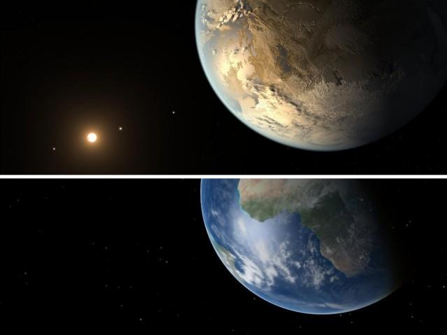 Arriba, visión artística de Kepler-186f, el primer exoplaneta de tamaño terrestre descubierto en la zona habitable de su estrella (fuente: NASA/JPL, nº de catálogo del Photojournal PIA17999). Abajo, una vista simulada con Celestia de la Tierra en una fase similar (fuente: el autor).