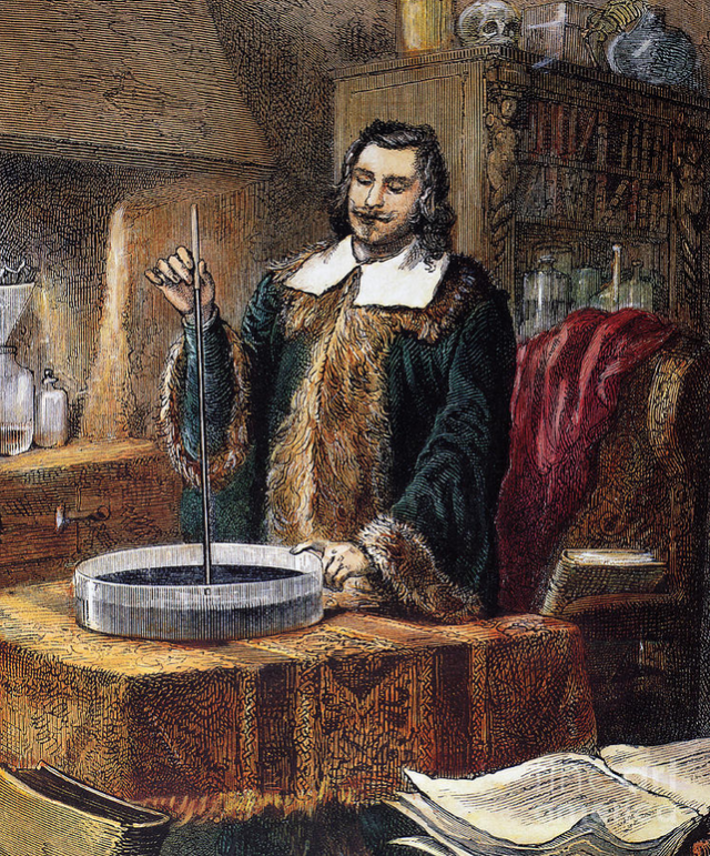 Torricelli con su barómetro de mercurio en 1642. Fuente: Camille Flammarion 1888