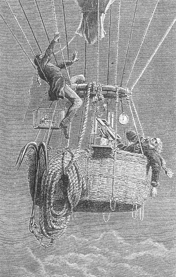 Litografía extraída de James Glaisher, ed., Travels in the Air donde podemos ver a Glaisher con claros síntomas de hipoxia y a Coxwell tirando de la cuerda con los dientes para abrir la válvula de escape de aire. Fuente: Neurology