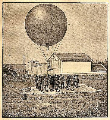 Lanzamiento de un globo sonda en 1893. Gustave Hermite fue el inventor de este tipo de globos un año antes. Fuente: Météo-France
