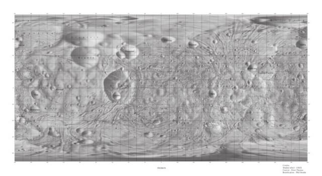 Imagen topográfica y etiquetada de Fobos |  USGS