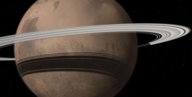 Una evocadora simulación del aspecto que luciría Marte con anillos. Créditos: Tushar Mittal