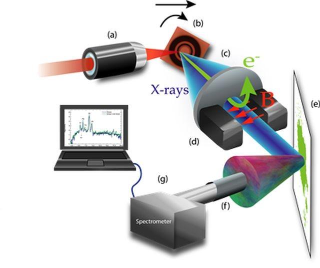 Montaje Experimental: (a) objetivo de microscopio (b) blanco de cobre (c) colimador (d) imanes deflectores (e) muestra (f) colimador (g) espectrómetro