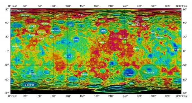 Mapa topográfico de Ceres