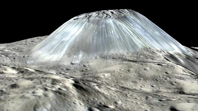 Acuna Mons, un criovolcán de hielo de más de 5 km de altura. NASA/JPL-Caltech/UCLA/MPS/DLR/IDA
