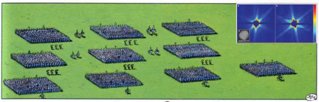 Legionarios romanos coherentes marchando hacia los belgas. Imagen tomada de [1]. Inserto: imagen coherente de un virus (mimivirus). Imagen tomada de [2].