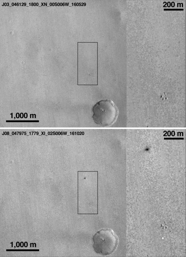 Imagen: Comparación de la superficie antes (arriba) y después (abajo) de la llegada de Schiaparelli. Aparece el cráter de Schiaparelli (mancha negra) y el paracaídas (mancha banca) en la imagen tomada por la sonda Mars Reconnaissance Orbiter (MRO). Crédito: NASA/JPL-Caltech/MSSS.