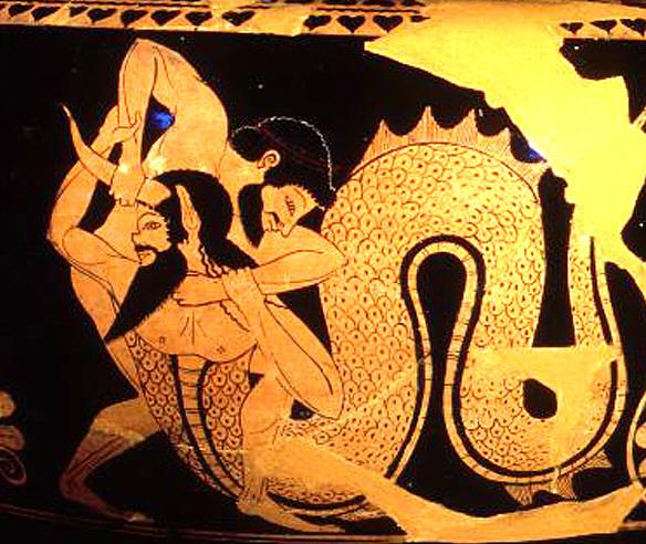 Representación de Hércules derrotando a Aqueloo. Fuente
