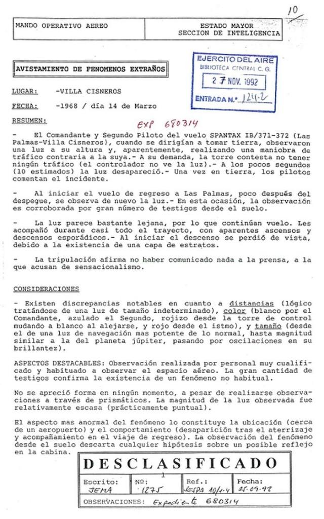 Portada del expediente 680314 del Ejército del Aire desclasificado en septiembre de 1992 (cortesía Cuartel General del Ejército del Aire)