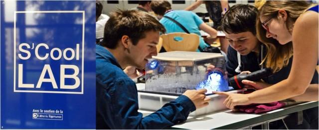Estudiantes observando las trazas que las partículas dejan en una cámara de niebla