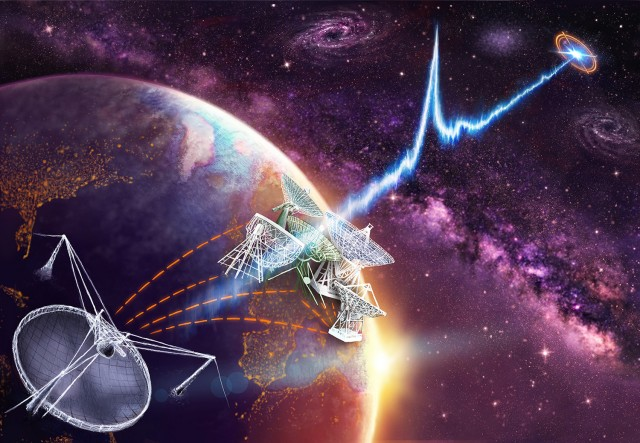 Representación artística de un estallido rápido de radio captada por el telescopio de Arecibo (Puerto Rico) y las antenas europeas del EVN en septiembre de 2016. Crédito: Danielle Futselaar.