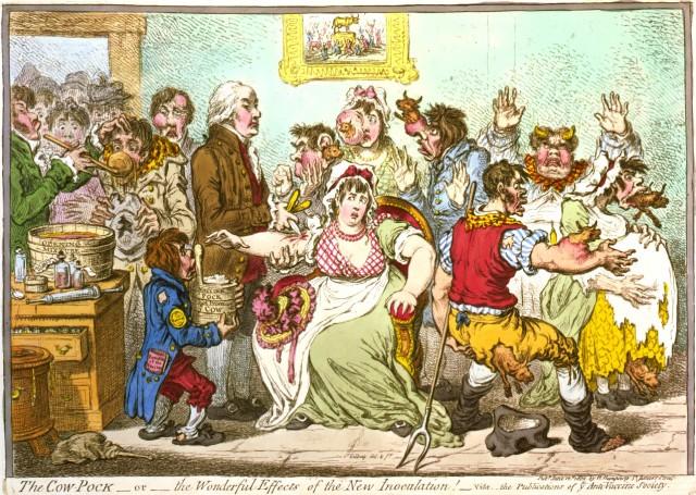 """Ilustración de época mostrando los efectos """"perniciosos"""" de la vacuna. Fuente: commons Wikipedia"""