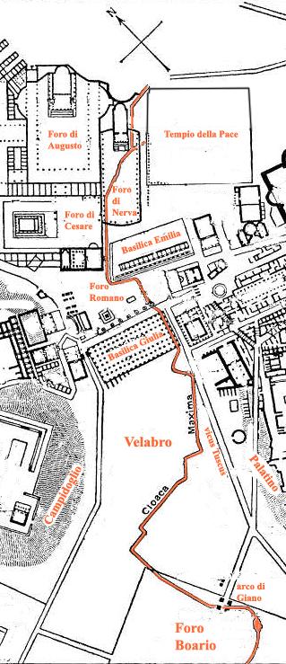 Trazado de la Cloaca Máxima en tiempos del Imperio Romano. Fuente