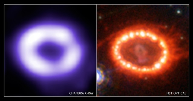 Figura 4. (Izquierda) Imagen de la intensa radiación de rayos X emitida como resultado de la colisión del material expulsado por la supernova SN 1987A con el material del anillo interno formado por el material liberado por la estrella progenitora, tal y como lo observó el satélite Chandra en 2005. (Derecha) Imagen óptica usando el Telescopio Espacial Hubble en el mismo año. Crédito: Rayos X: X NASA/CXC/PSU/S.Park & D.Burrows.; Óptico: NASA/STScI/CfA/P.Challis.