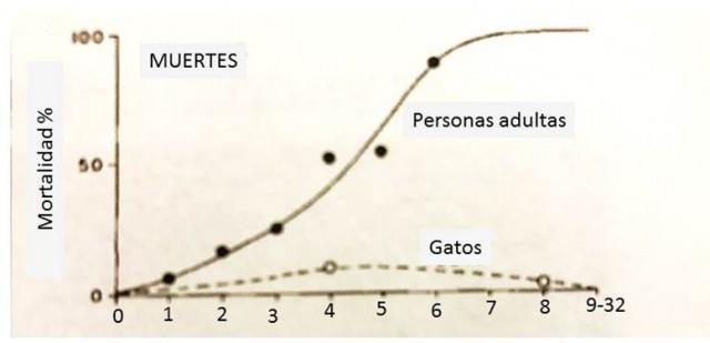 Mortalidad comparada entre humanos y gatos al caer de distintas alturas. Basado en los estudios de Waring y Demling así como los de Whitney y Mehlhoff
