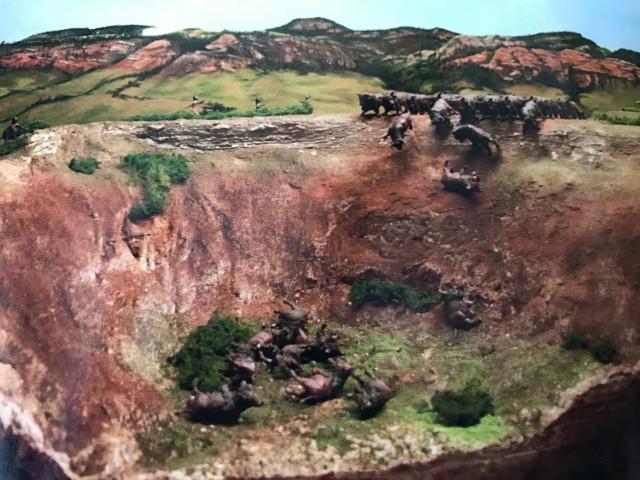 Maqueta que reproduce la técnica que usaban los nativos americanos para despeñar bisontes. Crook County Museum. Vore buffalo jum. Sundance Wyoming. Autor: J. Pascual