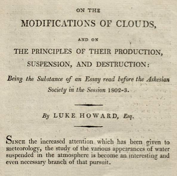 Primera página de su ensayo sobre las nubes (1803)