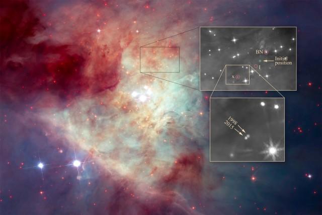 """La Nebulosa de Orión con el Telescopio Espacial Hubble (NASA/ESA) remarcando la posición de las """"estrellas fugitivas"""" y la comparación de las imágenes de 1998 y 2015 que ha encontrado la tercera estrella fugitiva. Crédito: NASA, ESA, K. Luhman (Penn State University), and M. Robberto (STScI)."""