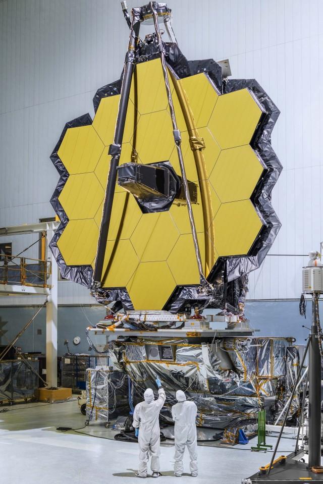 Telescopio espacial James Webb en plena construcción (NASA/JPL)