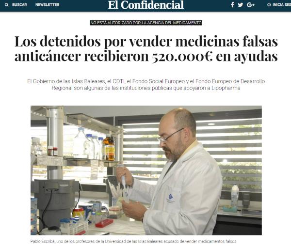 Medicamentos Los detenidos por vender medicinas falsas anticáncer recibieron 520.000€ en ayudas. Noticias de Ciencia