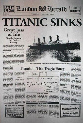 London Herald. Periódico inglés dando la noticia del desastre