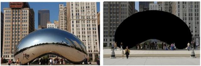 """Antes y después de  la obra """"Cloud Gate"""" en Chicago (2006), obra de Anish Kapoor, que en el año 2016 fue recubierta con Vantablack."""