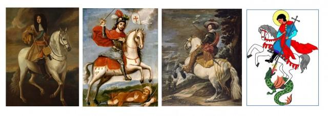 El caballo blanco como símbolo de poder. Numerosos monarcas y santos se representan a lomos de caballos blancos.