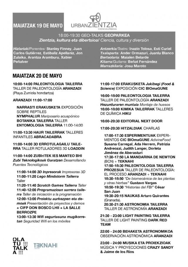 Programa de UrbanZientzia 2017