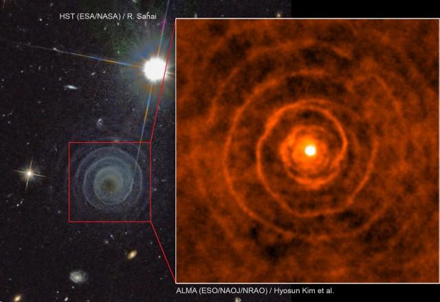 Fondo: Imagen de la Cámara Avanzada de Rastreo (ACS) del Telescopio Espacial Hubble (HST) con el descubrimiento de la espiral de polvo y gas alrededor de la estrella LL Pegasi en 2010. Recuadro: Observaciones con el interferómetro ALMA han permitido confirmar que el gas molecular forma un patrón en espiral alrededor de la estrella gigante roja LL Pegasi. Crédito: Imagen del HST: ESA/NASA & R. Sahai, imagen de ALMA:  ESO/NAOJ/NRAO / Hyosun Kim et al.
