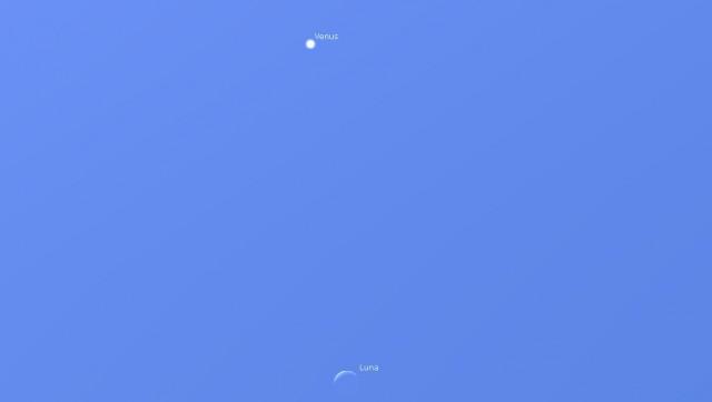 Venus y la Luna el 20 junio de 2017