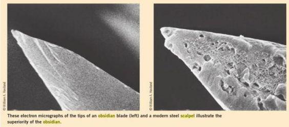 Comparación entre el filo de un escalpelo de obsidiana y uno de acero. Fuente