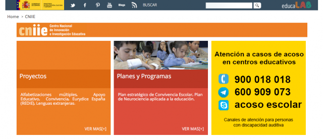 Portada de la web del CNNIE (http://educalab.es/cniie)