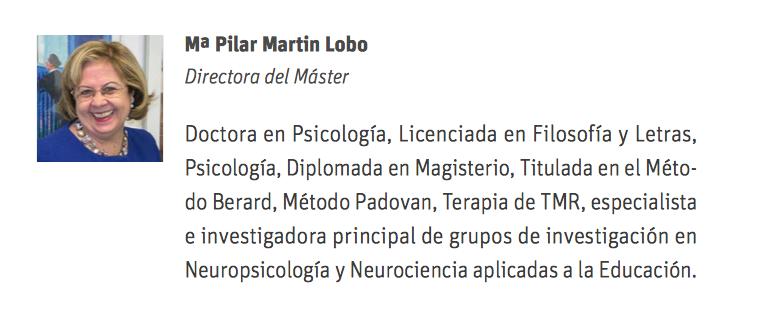 Información de Pilar Martín-Lobo en la página del master que dirige en la UNIR