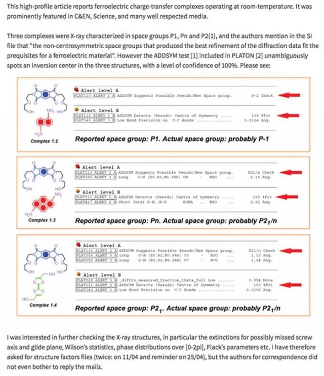 Figura 3. Entrada en PubPeer cuestionando el grupo espacial de los cristales LASO y respuesta de AAS (responsable de cristalografía en la Universidad de Northwestern).
