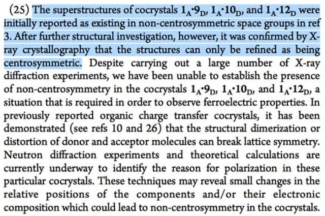 Figura 2. Nota de los autores añadida en la referencia [4] corrigiendo el grupo espacial de las estructuras LASO de la referencia [2].
