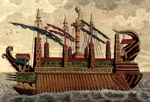 Representación del navío Siracusia, diseñado por Arquímedes