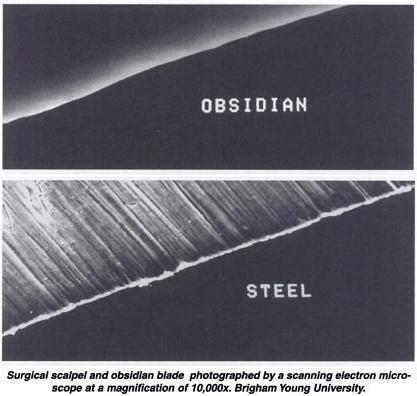 Comparación del filo de obsidiana y del filo de acero. Fuente