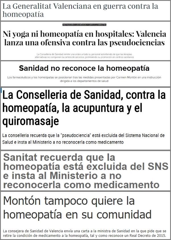 """Diversos titulares destacando la """"guerra"""" contra las pseudociencias de la Consellería de Sanidad."""