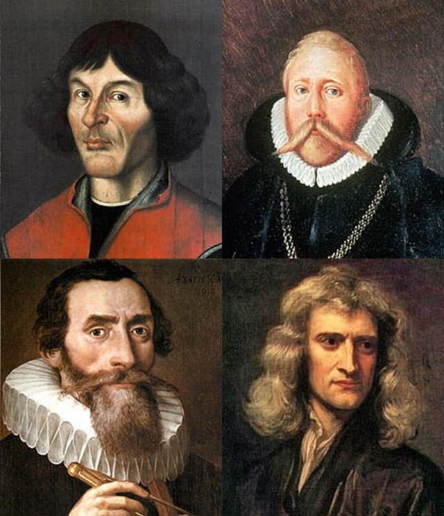 El Equipo de Ensueño de astronomía: Copérnico, Brahe, Kepler, Newton.