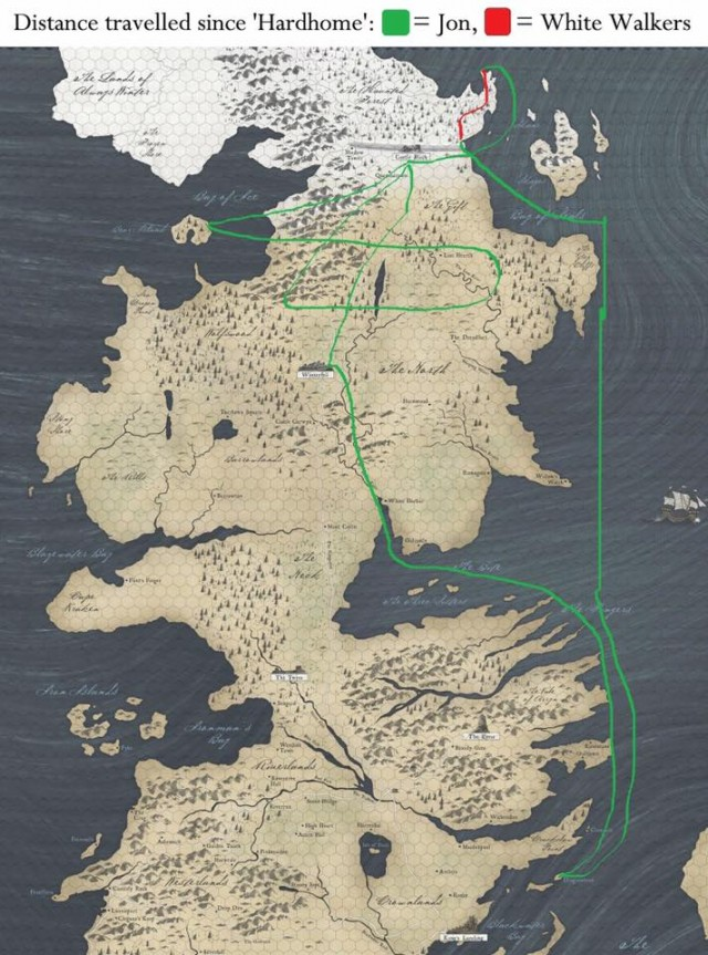 Algunas de las cuestiones inverosímiles de Juego de tronos. Viajes de Jon Snow y los caminantes blancos desde el episodio Casa Austera. Fuente
