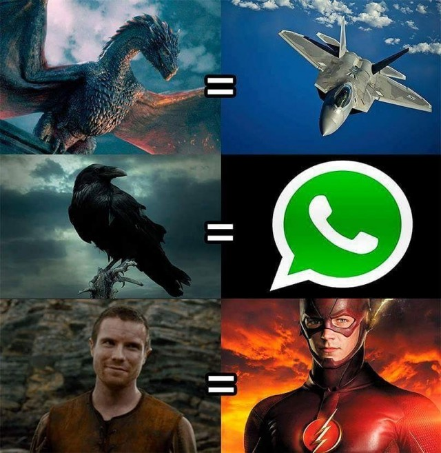 Dragones = Jet. Cuervos = Whatsapp. Gendry = Flash. Fuente