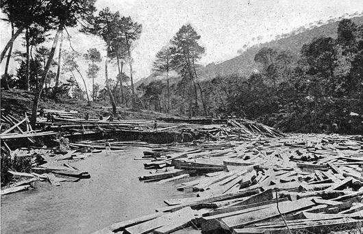 Tablones y traviesas en el curso alto del Guadalquivir, en 1917 (Fototeca Forestal Española).
