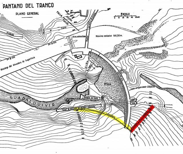Esquema de la presa del Tranco y sus instalaciones. En rojo, el elevador; en amarillo el lanzador. Esquema adaptado del publicado por la Revista de Obras Públicas, número 2773, mayo de 1946.