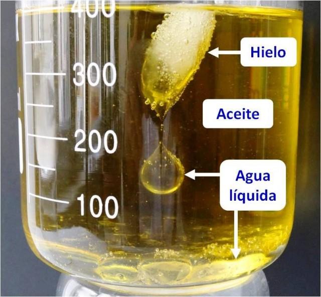 Comportamiento del hielo al pasar a agua líquida, en aceite de oliva.