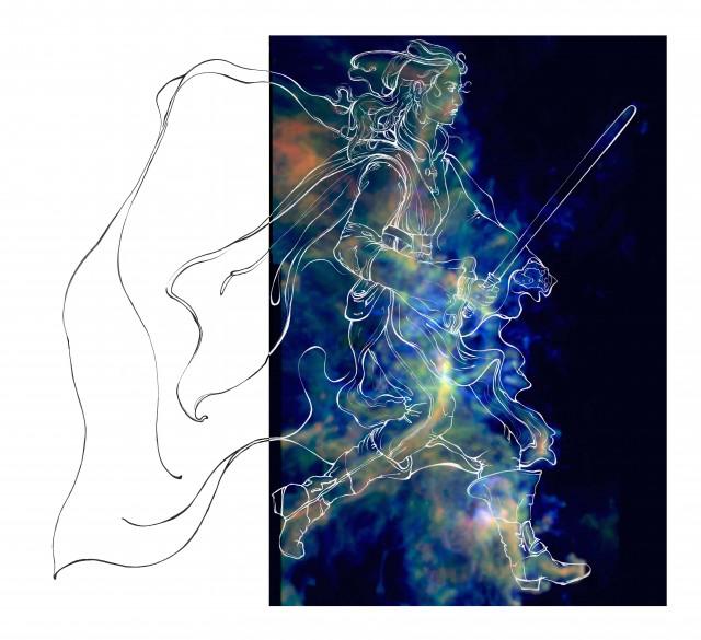 Ilustración de una guerrera Jedi superpuesta a una imagen del gas molecular de Orión B. Crédito: Audrey Pety.