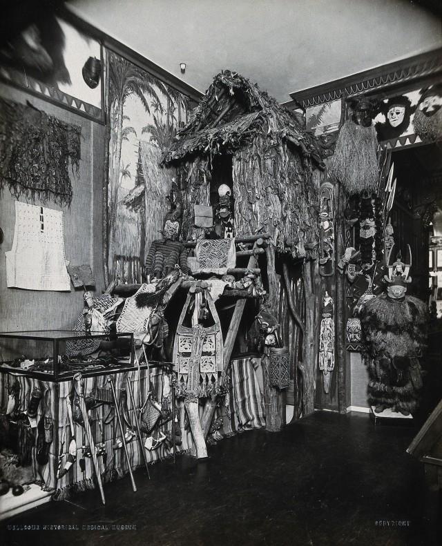 Cabaña de un cazador de cabezas de Nueva Guinea en el Museo de Historia de la Medicina de Wellcome_Wellcome Collection