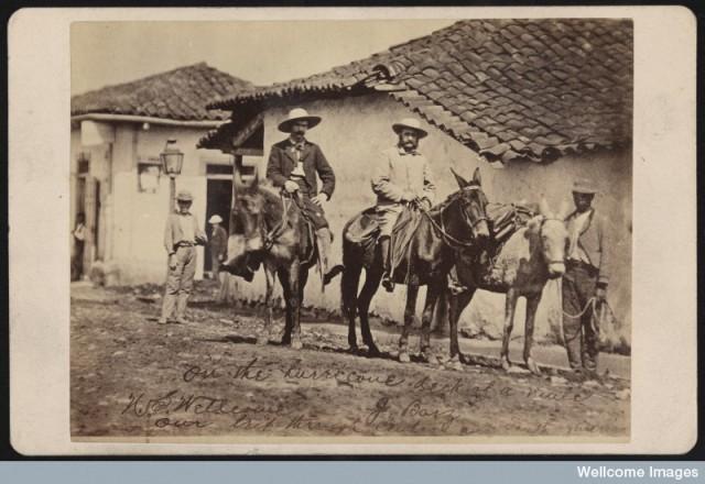 Henry Wellcome (izquierda) y su guía J. Bazi durante su viaje por Centro América en 1878_ Wellcome Library London