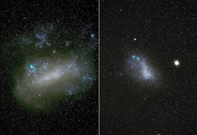 """Figura 1. Imágenes profundas de la """"Gran Nube de Magallanes"""" (LMC, Large Magellanic Cloud, izquierda) y """"Pequeña Nube de Magallanes"""" (SMC, Small Magellanic Cloud, derecha). Fueron obtenidas usando una cámara CANON 5D Mark III y un teleobjetivo de 200 mm a f2.8, apilando varias decenas de imágenes individuales de 3 minutos de exposición obtenidas en 3 horas para cada galaxia. La cámara se encontraba sobre un telescopio de aficionado con montura ecuatorial. Las imágenes se consiguieron en la noche del 19 and 20 de septiembre de 2017 desde el Observatorio de Siding Spring (Australia). La imagen de la LMC muestra la región de formación estelar 30 Dorado en un color azul brillante, mientras que la imagen de la SMC muestra el famoso y brillante cúmulo globular 47 Tucanae. Crédito: Ángel R. López-Sánchez (AAO/MQU)."""