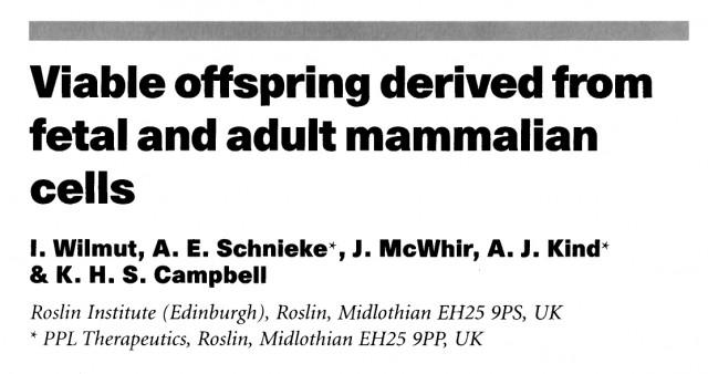 Título y autores del famoso artículo que apareció en la revista Nature el 27 de febrero de 1997, anunciando la obtención de la oveja Dolly, el primer mamífero clonado a partir de una célula adulta.